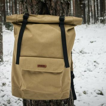 Roll Top Backpack Big Johnny  Sand by VELOTTON
