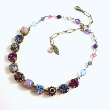 "Swarovski crystal necklace, 11mm ""Violletta""  Violet and fuchsia, embellished, floral Siggy necklace"