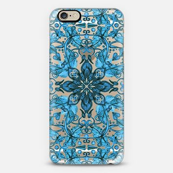 Vintage Bright Turquoise Floral Pattern on Crystal Transparent iPhone 6 case by Micklyn Le Feuvre | Casetify
