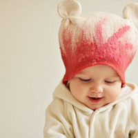 Felted baby girl hat - Happy ears - Ready to ship