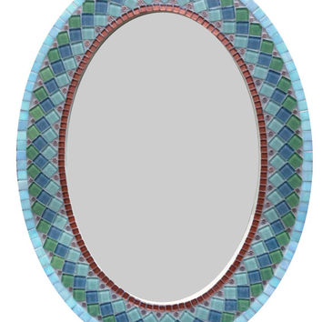 Oval Wall Mirror Copper Green Gray Mosaic Mirror
