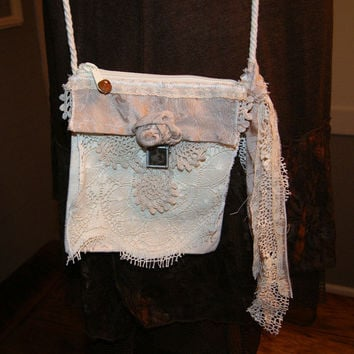 Small Cross Body Shabby Chic Bag Vintage Lace Crochet Pearl Lace Magnolia Flora Handbag Romantic Victorian