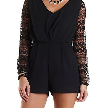 Lace   Chiffon Long Sleeve Romper by Charlotte Russe  Black