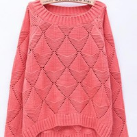 Candy Color Hollow Out Sweater Red$45.00