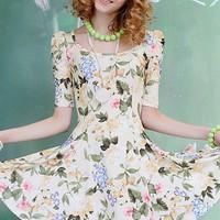 Flower Print Short Sleeve Mini Dress - Oasap High Street Fashion