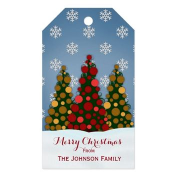 Red And Gold Christmas Tree Gift Tags