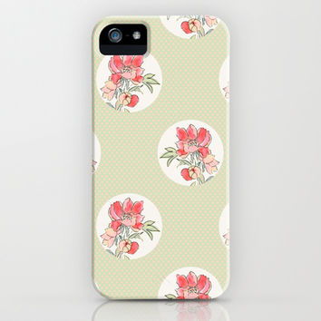 Vintage Floral Dot on Dot iPhone & iPod Case by Pattern Plus