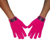 Bright Pink Gloves Knitted Wool Winter Fashion Accessories with Faux Crystal Gems Strip