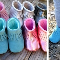 Baby Moccasin Boots Genuine Leather, Fleece Inside