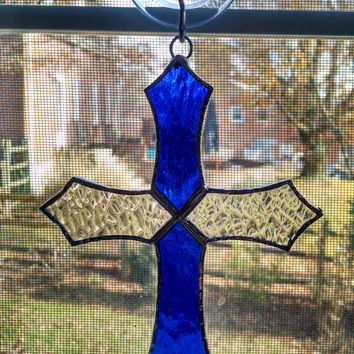 Cross Stained Glass Suncatcher - Cross Ornament - Blue Glass - Religious Decor - Christmas Ornament