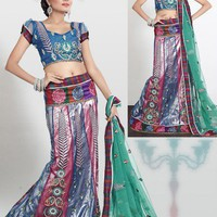 Vibrant Brick Red & Sky Blue Lehenga Choli  - Lehengas - Women