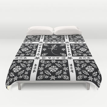 Black And White Floral Duvet Cover by Ornaart