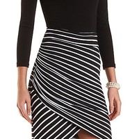 Striped & Ruched Tulip SKirt by Charlotte Russe - Black/White