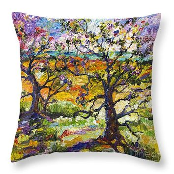 """Spring In Provence Throw Pillow 14"""" x 14"""""""