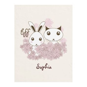 Cute Bunny and Kitten Friendship Personalized Kids Name Fleece Blanket for Girls - BFF - Best Friends Forever