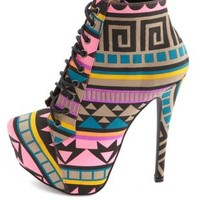 Tribal Print Lace-Up Platform Booties by Charlotte Russe - Pink Multi