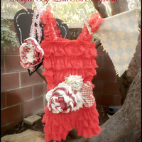 "Red Lace Petti Romper, Sash and Headband Set "" Ruby Rose"" Baby Girl Romper Childrens Clothing"