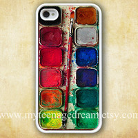 Watercolor painting Box pattern print iPhone 4 Case, palette Design white iphone hard case for iphone 4, iphone 4S