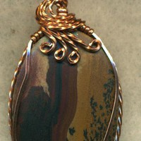 Indian Paint Stone Copper Wire Wrap Pendant 7 - Gemstone