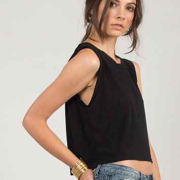 Cut Off Sleeved Tee - Black /