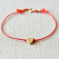 Lovely Heart Initial Bracelet (Gold Filled)