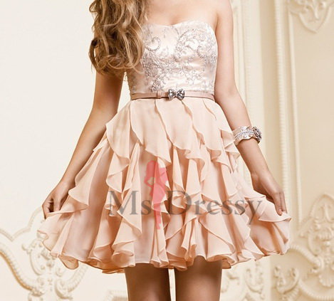 A-line Strapless Chiffon Short/Mini Dress at Msdressy