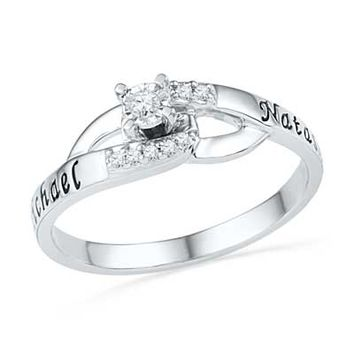 Diamond Accent Promise Ring in Sterling Silver (2 Names)