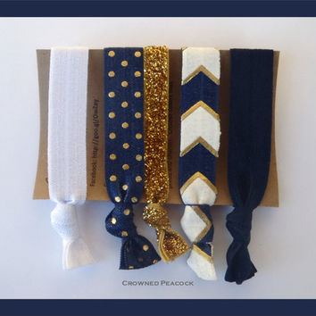 5pc CHEVRON HAIR TIE Set No Tug, No Dent, Yoga, Navy Blue White and Gold Glitter, Stocking Stuffer Christmas Gift, Cyber Monday Sale