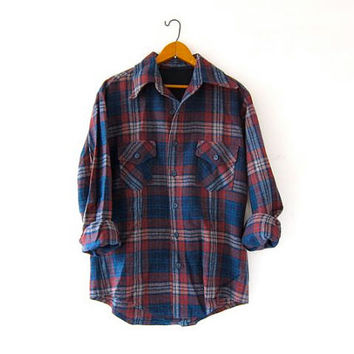 Vintage Plaid Flannel. Wool Flannel. Grunge Shirt. Boyfriend