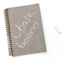 Beige Neutral Brown Chalkboard Book  notebook spiral journal