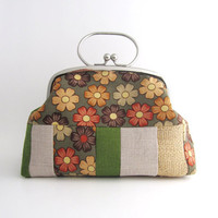 Frame Clutch with Handle-  antique flower patchwork