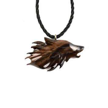 Wolf Necklace, Wolf Pendant, Mens Necklace, Wood Wolf Necklace Pendant, Mens Wolf Necklace, Hand…