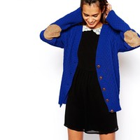 Glamorous   Glamorous Cable Knit Cardigan with Elbow Patch at ASOS
