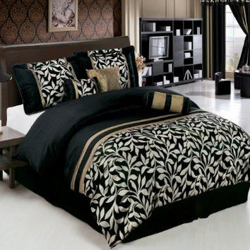 Chandler Black and Gold Full size Luxury 7 piece Comforter set includes Comforter, Skirt, Throw…