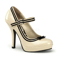 PRE-ORDER**Cream Patent Leather & Black Stripe Secret Valentine Shoes - Unique Vintage - Bridesmaid & Wedding Dresses