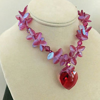 Fuchsia Crystal Glass Heart Necklace