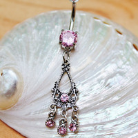 Pink Crystal Dangle Chandelier Princess Belly Ring