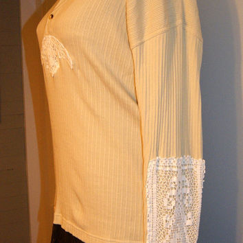 Upcycled Womens Ecru Ribbed Henley Shirt Top Tunic Vintage Crochet Free People Style XL-XXL