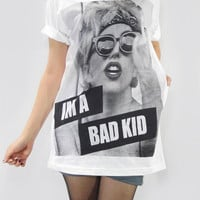 LADY GAGA Sexy I'm A Bad Kid Bad Kids Born This Way Women Shirt Men Shirt Unisex Shirt Tee White T-Shirt Screen Print Rock T-Shirt Size M