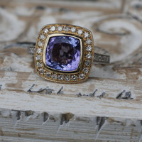 Tanzanite cushion white and yellow gold diamond by EidelPrecious