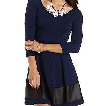 FAUX LEATHER TRIM SKATER DRESS