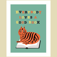 Books poster with cat - retro style By Visuaria
