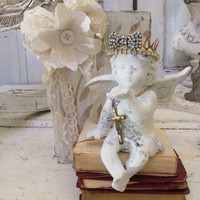 Shelf sitter cherub statue figurine with decorated hand painted book French Nordic inspired white home decor Anita Spero design