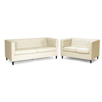 Baxton Studio Darrow Bonded Leather Sofa & Loveseat Set