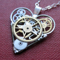 "Mini Watch Parts Heart Necklace ""Sombre"" Elegant Industrial Heart Pendant Steampunk Sculpture Gershenson-Gates Mechanical Mind Christmas"