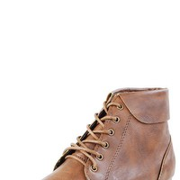 Bamboo Picnic02 Tan Lace Vintage Newsboy Booties shop Boots at MakeMeChic.com