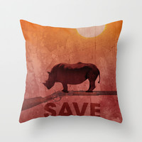 rhinos Throw Pillow by Chyworks