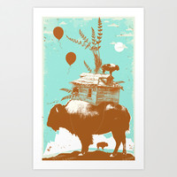BUFFALO CARAVAN Art Print by Showdeer