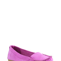 Stitched Faux Suede Moccasin Flats