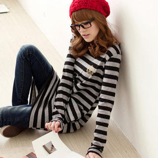 YESSTYLE: Tokyo Fashion- Long-Sleeve Striped Dress (Black &amp; Light Gray - One Size) - Free International Shipping on orders over $150
